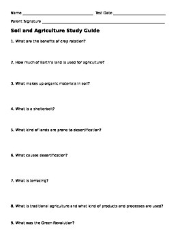 Soil and Agriculture Study Guide