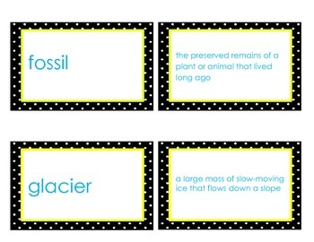 Soil and Fossil Vocabulary Flash Cards