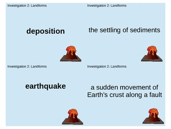 FOSS Soils, Rocks, and Landforms Investigation 2 Vocab/Glossary Matching Cards