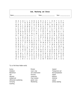 Soils Word Search Puzzle with key