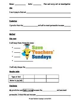Soils science investigation Lesson plan, Writing frames an