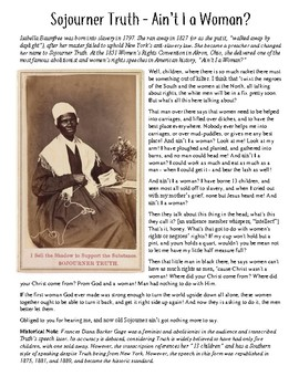 Sojourner Truth Ain T I A Woman Primary Source Activity By