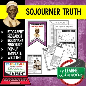 Sojourner Truth Biography Research, Bookmark Brochure, Pop-Up, Writing