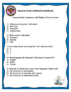 Sojourner Truth Black History Month Activities-Reading Comprehension