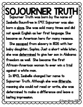 Sojourner Truth Black History Month Activities Tpt