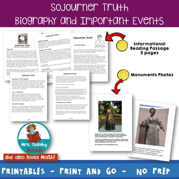 Sojourner Truth | Black History | Reading | Writing Prompts | Graphic Organizers