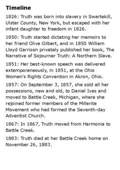 Sojourner Truth Crossword