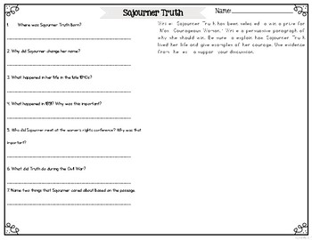 Sojourner Truth Differentiated Reading Passages & Activities