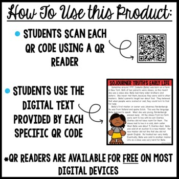 Sojourner Truth Interactive Notebook with QR codes- Black History Month