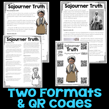 Sojourner Truth Reading Passage, Biography Report, & Comprehension Activities