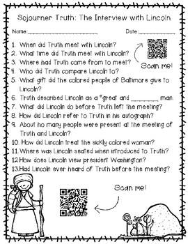 Sojourner Truth Worksheet Packet