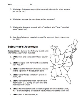 """Sojourner Truth's Crusade & Map / """"Ain't I a Woman"""" Speech / Black History"""