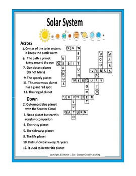 Solar System Crossword Puzzle - Planet Nick Names