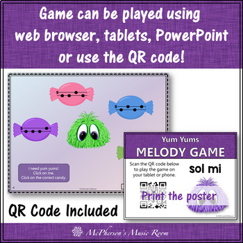 Music Game: Sol Mi Interactive Melody Game + Assessment {Yum Yums}
