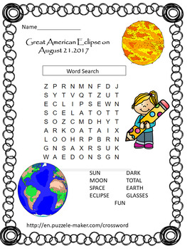 Solar Eclipse 2017 - Word Search, Writing and Drawing Activity