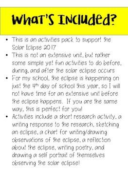 Solar Eclipse 2017 Activities Pack!
