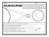 Solar and Lunar Eclipse (Diagrams + Questions)