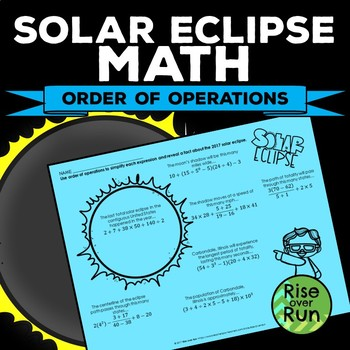 Solar Eclipse 2017 Math Activity: Order of Operations
