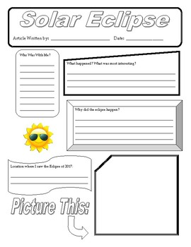 Solar Eclipse 2017- Writing Activity