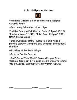Solar Eclipse Activities & Snack Ideas