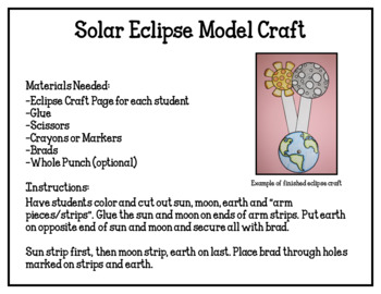 Solar Eclipse Activity Pack (worksheets, craft, & board game)