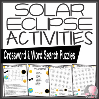 Solar Eclipse Crossword and Word Search Find Activities
