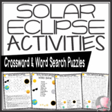Solar Eclipse Activities Crossword Puzzle and Word Search Find