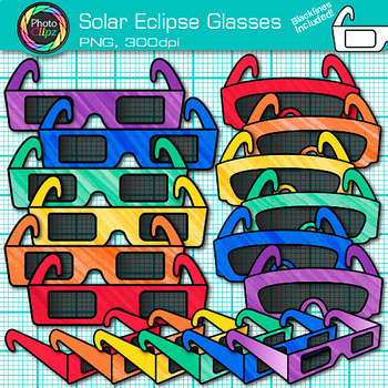 Solar Eclipse Glasses Clip Art {Total and Lunar Astronomy Graphics for Science}