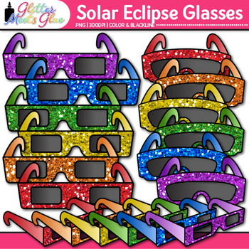 Solar Eclipse Glasses Clip Art | Total and Lunar Astronomy Graphics for Science