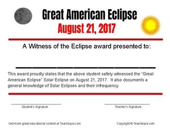 Solar Eclipse Great American Eclipse Certificate  Solar Eclipse 2017