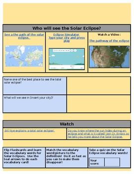 Solar Eclipse Hyperdoc or Whole Group Lesson