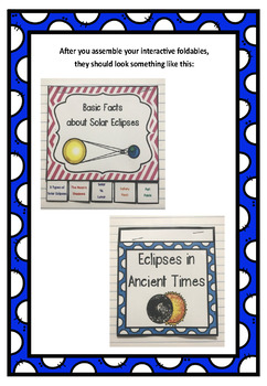 Solar Eclipse Interactive Foldable Booklets