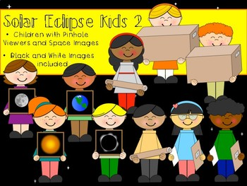 Solar Eclipse Kids Clip Art -2- Children with Pinhole Viewers and Space Posters
