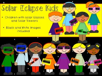 Solar Eclipse Kids Clip Art - Children with Solar Glasses and Solar Viewers