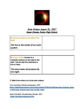 Solar Eclipse Lesson; World History