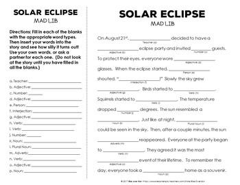 Solar Eclipse Mad Lib Fun Activity