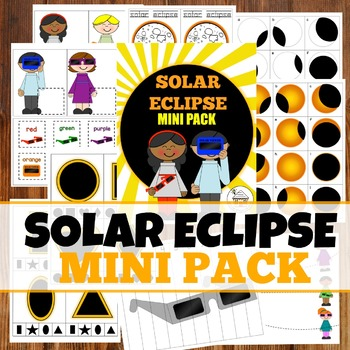 Solar Eclipse Mini activity pack for Pre-K, Preschool and Tots