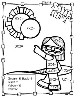 Solar Eclipse Multiplication Coloring Pages by AJ Bergs TpT