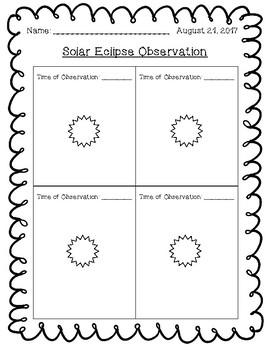 Solar Eclipse Observation Sheet