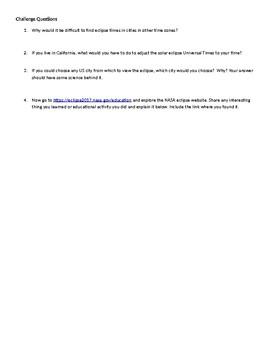 Solar Eclipse Online Activity Using NASA`s Website