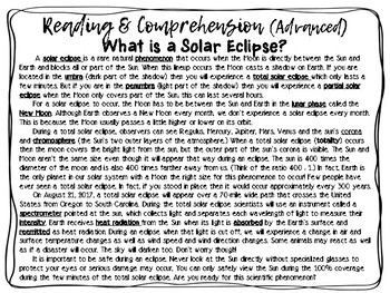 Solar Eclipse: Reading and Comprehension