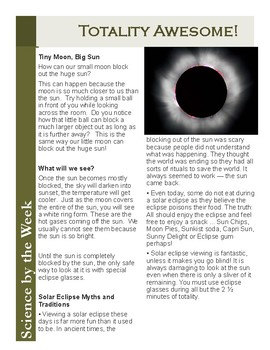 Solar Eclipse Science!  Leveled Informational Text