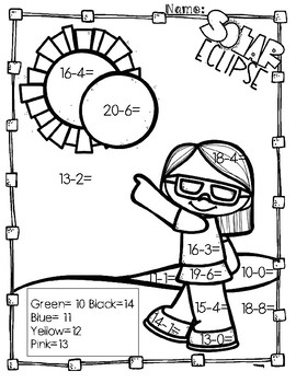 Solar Eclipse Subtraction Coloring Pages