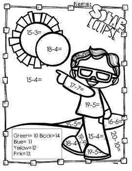 Solar Eclipse Subtraction Coloring Pages By Aj Bergs Teachers Pay