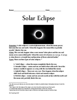 Solar Eclipse - Total Eclipse Lesson Facts information questions & 2017 Eclipse