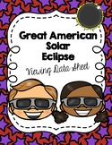 Solar Eclipse Viewing Data Sheet