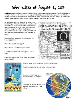 Solar Eclipse of August 21, 2017: Social Studies Cross-Curriculum Activity