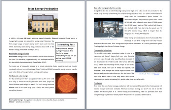 Solar Electricity Production - Science Reading Article - Grades 5-7