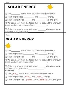 Solar Energy Worksheet | Teachers Pay Teachers