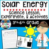 Solar Energy Lesson Plan, Experiment, & Data Sheet ( 3rd -
